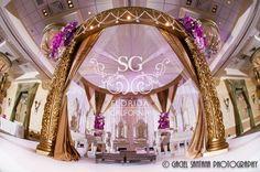 Suhaag Garden, Florida wedding decorators, Indian wedding decorators, Mandap, wedding aisle, gold and purple themed decor, Marriott West Palm Beach, pearls