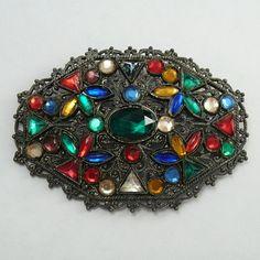 Large Vauxhall Glass Brooch Vintage Pin by VintageJewelsAndMore