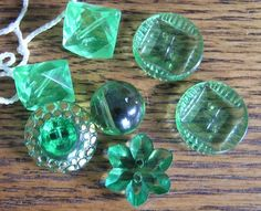 Assorted Green Depression Glass Buttons