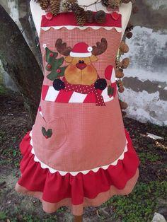 Cartamodelli Natale 2012 : Cartamodello grembiule renna sul candy-cane