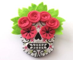 Felt Sugar Skull Brooch by TheDollCityRocker on Etsy, $20.00