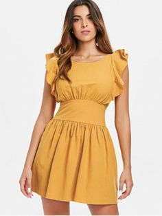 Knotted Back Ruffles Dress - Bee Yellow S Knotted Back Ruffles Dress – Bee Ye. - Knotted Back Ruffles Dress – Bee Yellow S Knotted Back Ruffles Dress – Bee Yellow S Source by vipereve Source by zafulshop - Belted Shirt Dress, Tee Dress, Ruffle Dress, Boho Dress, Ruffles, Bodycon Dress, Elegant Dresses, Sexy Dresses, Dresses With Sleeves