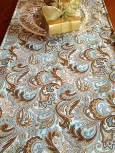 Summer Blue Paisley Table Runner 36 by SewMuchtoSell on Etsy, $12.00