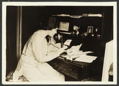 "This photo, published in a 1915 issue of ""The Suffragist"" shows Alice Paul speaking on the telephone. (Library of Congress)"