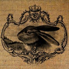 Easter Gorgeous Rabbit Face In Crown Frame Digital Image Download Pillows Tote Tea Towels Burlap. On Etsy.