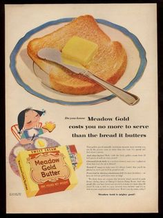 1953 Mary Blair Little Girl Toast Art Meadow Gold Butter Vintage Print Ad | eBay