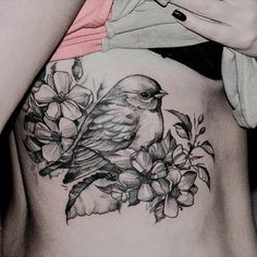 New Tattoo Arm Bird Flower Tatoo Ideas Time Tattoos, Foot Tattoos, Arm Tattoo, Body Art Tattoos, New Tattoos, Sleeve Tattoos, Tatoos, Bird And Flower Tattoo, Flower Tattoos