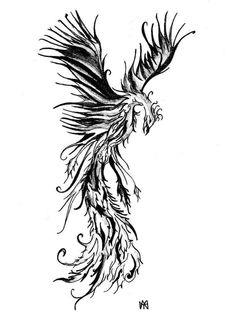 Black and white Phoenix- Firebird
