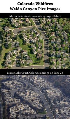 Waldo Canyon Fire Before and After Photo...wow...really makes it real :(