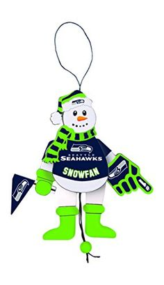 NFL Seattle Seahawks Wooden Cheering Snowman Ornament >>> Find out more about the great product at the image link.
