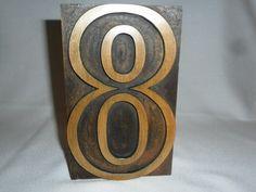 Large Outline Letterpress Number 8