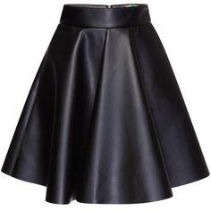 MSGM Eco Nappa Leather Skirt ($420) ❤ liked on Polyvore featuring skirts, mini skirts, bottoms, saias, black, faldas, high waisted pleated skirt, mini circle skirt, circle skirt and black mini skirt