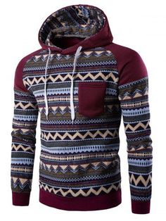 Color Block Tribal Printed Pocket Hooded Raglan Sleeve Hoodie