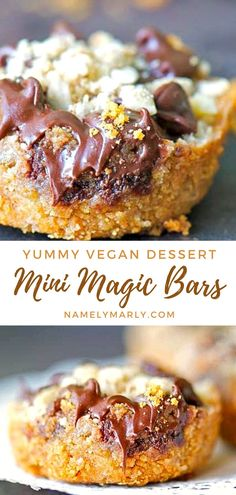 This Mini Magic Bars recipe features a graham cracker crust topped with sweet milk, coconut, chocolate chips, and chopped nuts! All vegan and dairy-free! It's sweet, crunchy, and delicious in every bite!   #vegansweets #magicbars #veganbars #namelymarly Best Cake Recipes, Best Vegan Recipes, Vegan Dessert Recipes, Vegan Breakfast Recipes, Vegan Sweets, Sweet Recipes, Cooking Recipes, Mini Desserts, Sweet Desserts