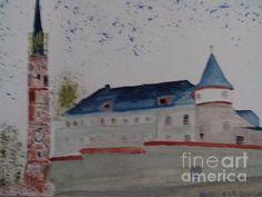 Das Alte Gefängnis und die Martinskirche  der Stadt Landshut in Niederbayern neben an. Ein schönes Aquarell.
