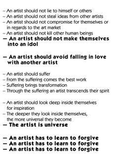 Marina Abramovic quotes from her Manifesto
