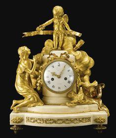 A Louis XVI ormolu and white marble mantel clock circa 1770, the dial signed Pochon a Paris
