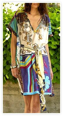 Burning Torch Eco Friendly Recycled Silk Scarf Dress