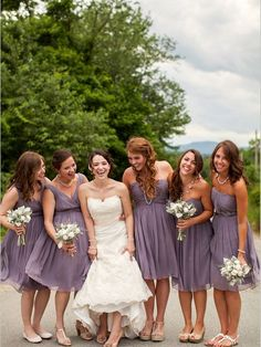 This is exactly what I'm envisioning: short bridesmaids dresses in all different styles, but same color/fabric