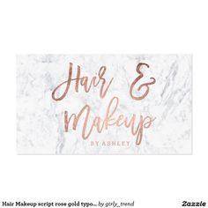 Hair Makeup script rose gold typography marble Business Card