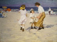Edward Henry Potthast, Ocean Breezes o/c, showing solidity of form or 'weightiness' of European-trained American Impressionist School of the period. American Impressionism, Impressionist Artists, Coastal Art, Art Themes, Community Art, State Art, American Artists, Beautiful Paintings, Art Google