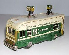 Vintage 1950s Asahi Tin Friction NBC Television Broadcasting Van
