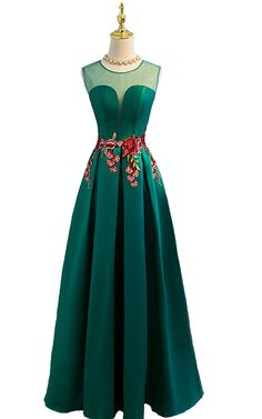 Green Sleeveless A Line Cap Sleeve Satin Floor Length O Neckline Long Prom Dress