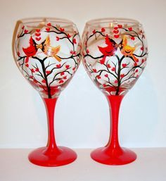 Cardinals Hand Painted Wine Glasses Love Birds Hand Painted Set Of 2 - 20 oz. Red Wine Glasses Free Personalization by SharonsCustomArtwork on Etsy