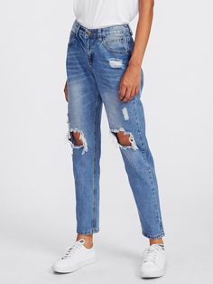 Long Button Fly. Jeans Decorated with Ripped, Raw Hem. Regular fit. Mid Waist. Trend of Spring-2018, Summer-2018, Fall-2018. Designed in Blue. Fabric has no stretch.