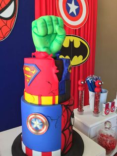 What an awesome birthday cake at this Superheroes Birthday Party!! See more party ideas and share yours at CatchMyParty.com #catchmyparty #superherobirthdayparty #birthdaycake