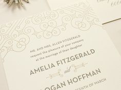 Posh - Art Deco Letterpress Wedding Invitations, metallic gold letterpress, 1920s wedding inspiration