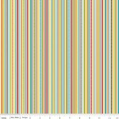 Bright Red Aqua and Yellow Stripe Fabric, Puppy Park By Bella Blvd For Riley Blake, Stripe Print in Cream, 1 Yard. $8.25, via Etsy.
