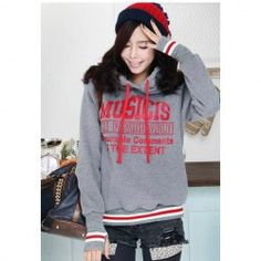 $7.73 Casual Style Letter Printed Long Sleeves With Gloves Fleece Cotton Blend Hoodie For Women