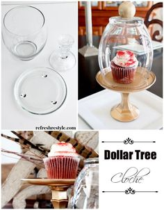 Gold Glass Cloche Perfect for weddings and baby's first birthday! Create your own gold glass cloche using three items from Dollar Tree. You can make any dessert feel special putting it under a gold glass cloche. Great for cupcakes! Container Food, Bolo Diy, Decor Crafts, Diy Crafts, Plate Crafts, Home Decor, Ideias Diy, Dollar Tree Crafts, Gold Glass