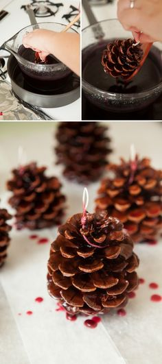DIY - How to make Pinecone Fire Starter favors from scratch! Diy And Crafts Sewing, Crafts To Sell, Pinecone Fire Starters, Winter Wedding Favors, Wedding Ideas, Pine Cone Crafts, Mason Jar Candles, Breakfast For Kids, Crafts For Teens