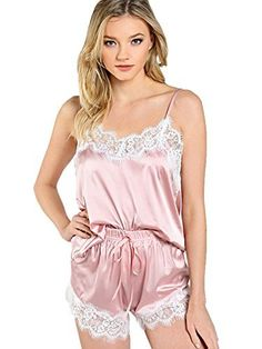 MakeMeChic Women s Lace Satin Sleepwear Cami Top Shorts Pajama Set b93759362