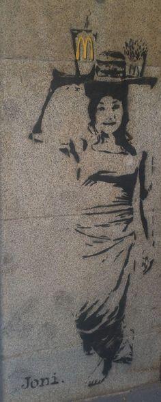 "Street Art, Madrid 2011. ""McDonald's Delivery""."