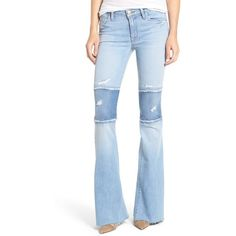 Women's Hudson Jeans Mia Patchwork Flare Jeans ($245) ❤ liked on Polyvore featuring jeans, royal delta, flare jeans, patching blue jeans, flared jeans, raw hem jeans and patchwork jeans