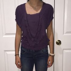 Free People Purple cotton blouse Thin material 100% modal rayon. Gold buttons trim the front Free People Tops Blouses