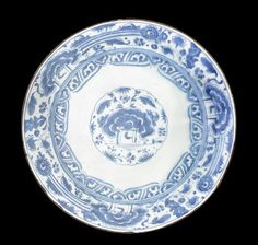 A large Safavid underglaze-painted pottery Dish,  Persia, 17th Century