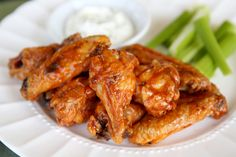Oven Fried Crispy Glazed Chicken Wings- the secret ingredient really works to make them crispy delicious!