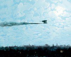 E aqui está uma ilustração de Hagrid andando na sua moto pelo céu, com Harry na carona: