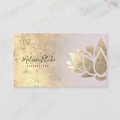 Shop faux gold foil decor on pink gradient business card created by indiamylove. Foil Business Cards, Salon Business Cards, Elegant Business Cards, Business Card Logo, Lotus Logo, Lotus Flower Art, Visiting Card Design, Reiki, Boutique Logo