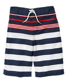 Red white and blue swim trunks