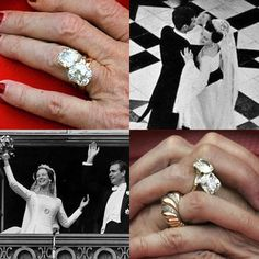 In the go big or go home spirit here is Queen Margrethe of Denmark's engagement ring. Two (presumed to be six carat) square shaped diamonds set in yellow gold from Van Cleef and Arpels. She married french diplomat Count Henri de Laborde de Monpezat in Royal Engagement Rings, Engagement Ring Styles, Wedding Rings, Celebrity Engagement Rings, Royal Rings, Royal Crown Jewels, Royal Tiaras, Royal Jewelry, Diamond Are A Girls Best Friend