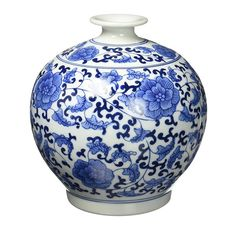 Classic Chinese Vintage Blue and White Floral Globe Porcelain Decorative Vase * Click image for more details. (This is an affiliate link and I receive a commission for the sales) Blue And White China, Blue China, Delft, Porcelain Vase, White Porcelain, Blue Pottery, Antique Pottery, Art Deco, White Vases