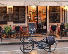 Paris Cafe, Paris Photography, Bike, Cafe Photo Art Prints, Red Paris Decor