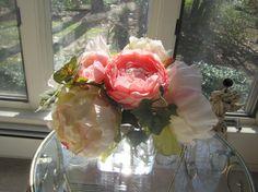 Elegant Beautiful Silk Flower Arrangement White by FlowerIsland