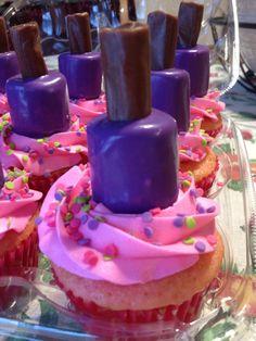 Spa Cupcakes with edible Nail polish bottles