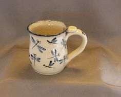 Blue dragonfly handmade mug Unique pottery by TallPinesPottery, $19.00